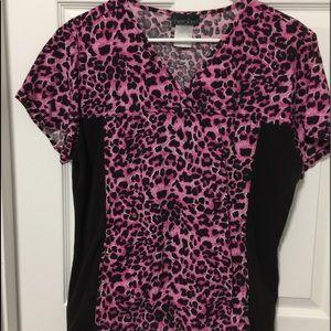 Cheetah scrub top